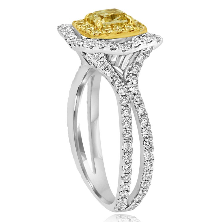 Men's Natural Fancy Yellow Diamond Double Halo Two-Color Gold Bridal Fashion Ring For Sale