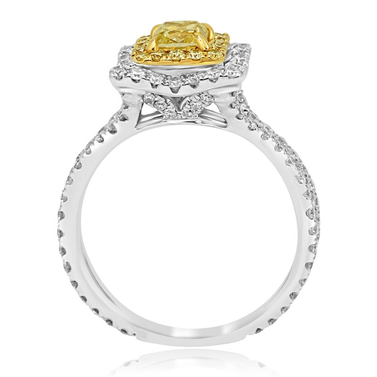 Natural Fancy Yellow Diamond Double Halo Two-Color Gold Bridal Fashion Ring For Sale 2