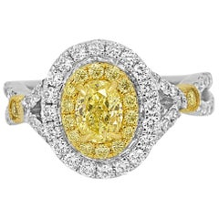 Natural Fancy Yellow Diamond Double Halo Two-Color Gold Bridal Fashion Ring