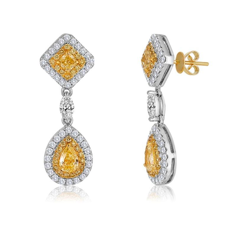 Natural Fancy Yellow Diamond Double Halo Two Color Gold Earring