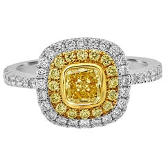 Natural Fancy Yellow Diamond Double Halo Two-Color Gold Engagement Ring