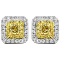 Natural Fancy Yellow Diamond Double Halo Two-Color Gold Stud Earring