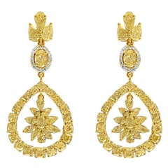 Natural Fancy Yellow Diamond Drop Earrings, 18 Karat Gold