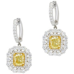 Natural Fancy Yellow Diamond Halo White Gold Earrings