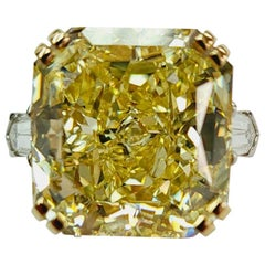 Takat 30.15 Cts GIA Certified Fancy Intense Yellow Diamond Ring Mount in Platinu