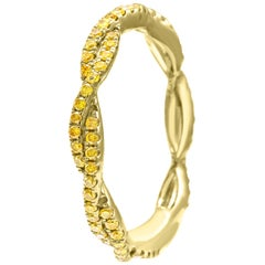 Natural Fancy Yellow Diamond Twisted Rope Style Gold Stackable Band Fashion Ring