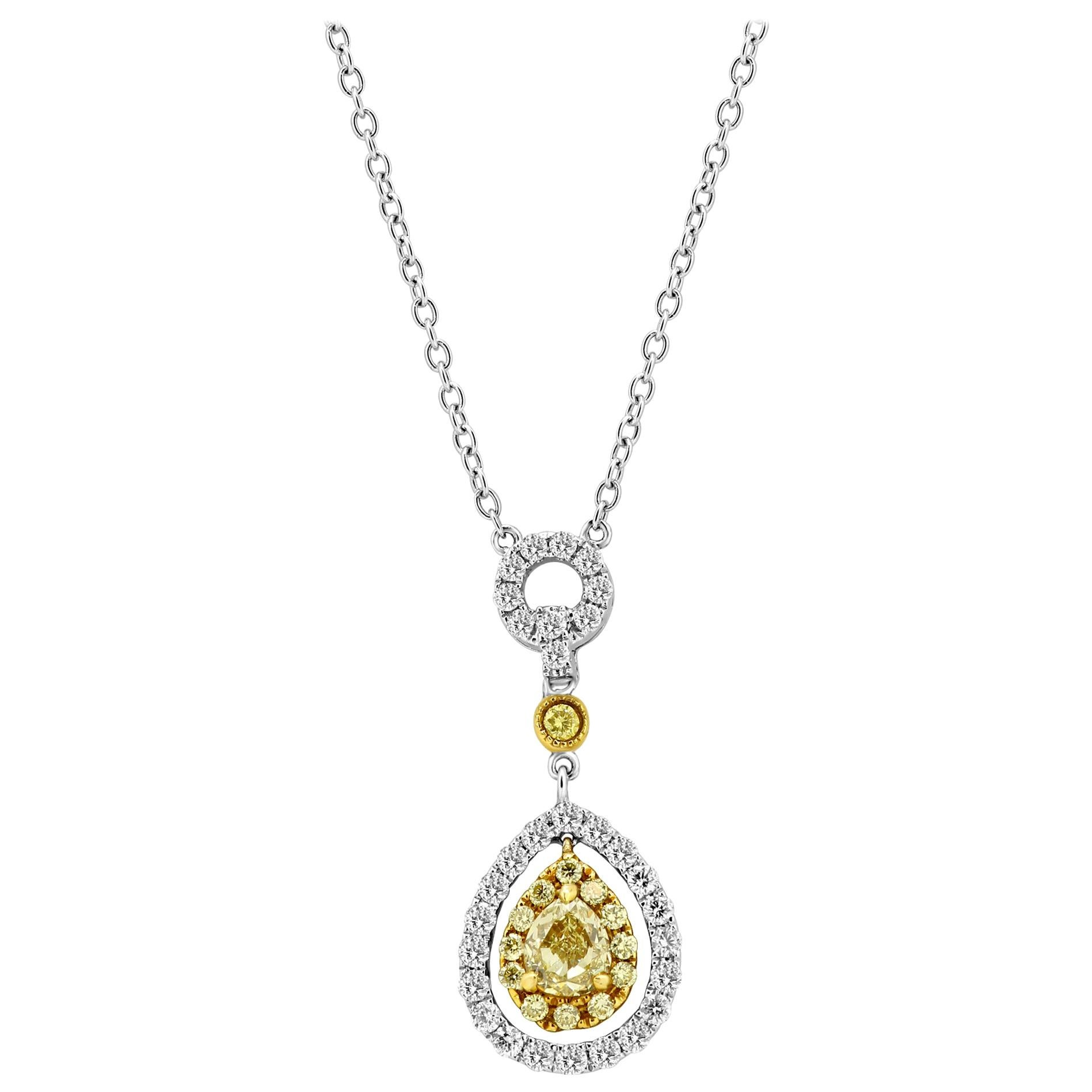 Natural Fancy Yellow Diamond White Diamond Halo Two-Color Gold Chain Necklace