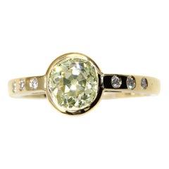 Natural Fancy Yellow Old European Cut Diamond Handcrafted 18 Karat Gold Ring