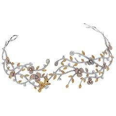 Natural Fancy Yellow Pink Diamond 18K Gold Tiara Choker Necklace
