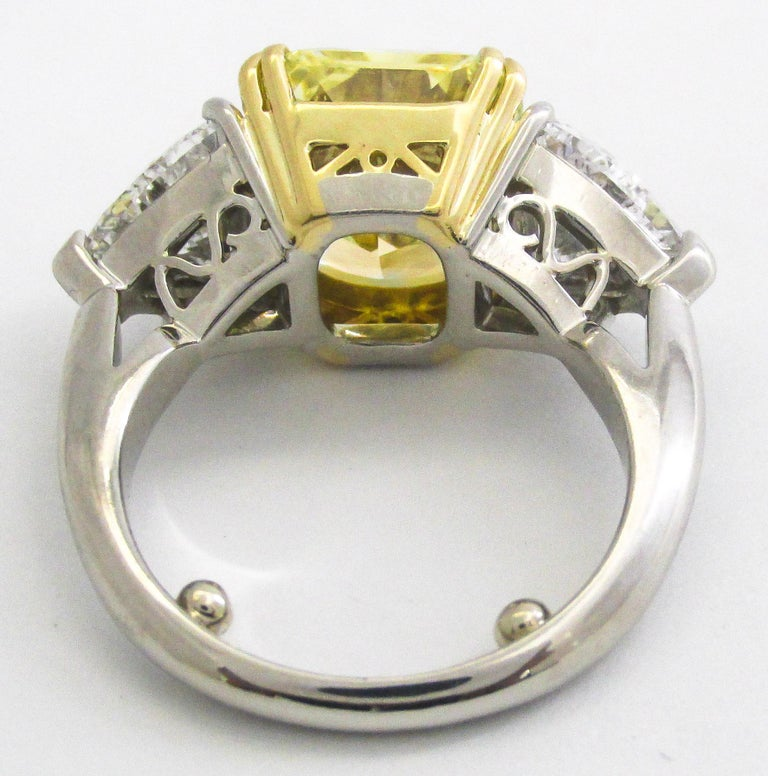 Contemporary Natural Fancy Yellow Radiant Cut 6.15 Carat Diamond Engagement Ring For Sale