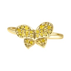 Natural Fancy Yellow Round Diamond 14K Gold Fashion Cocktail Butterfly Ring