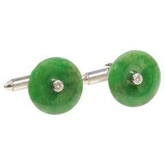Natural Fine Green Jade White Gold and Diamond Cufflinks