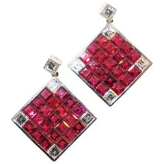 Natural Fine Ruby and Diamond Earrings