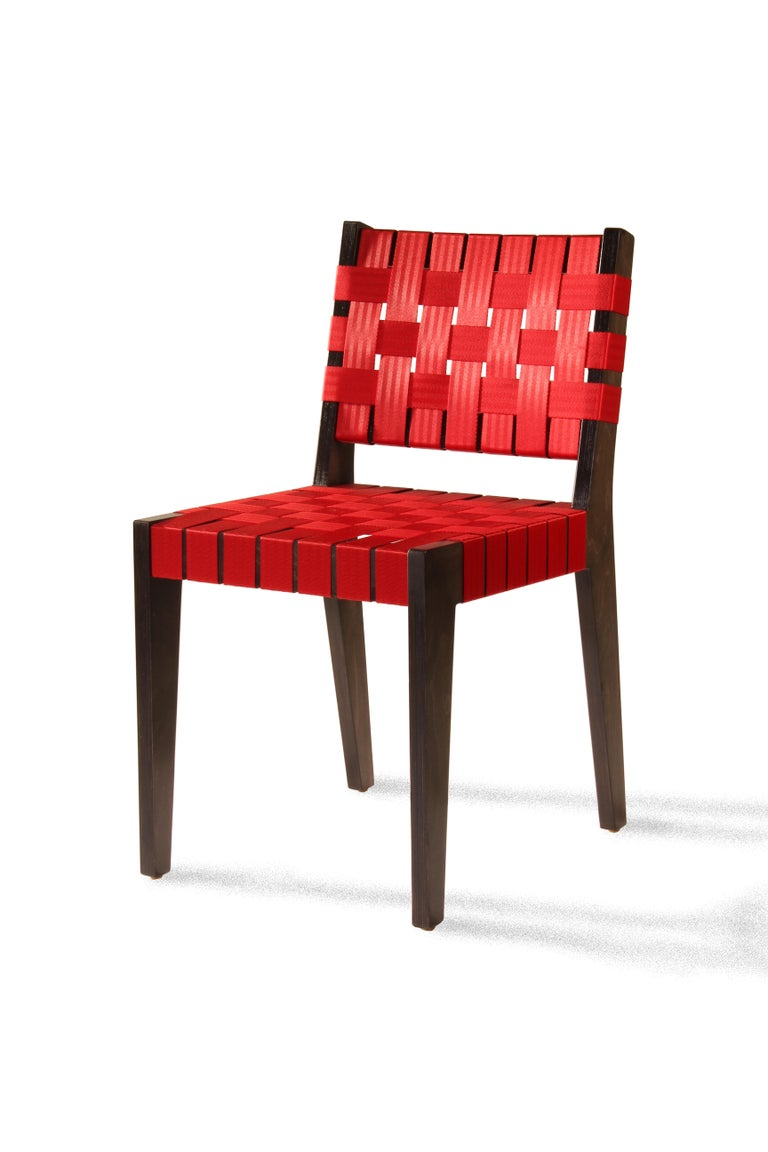 Natural Finish Maple Side Chair with Black Woven Seat & Back by Peter Danko For Sale 3