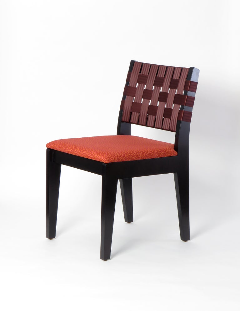 Natural Finish Maple Side Chair with Black Woven Seat & Back by Peter Danko For Sale 6