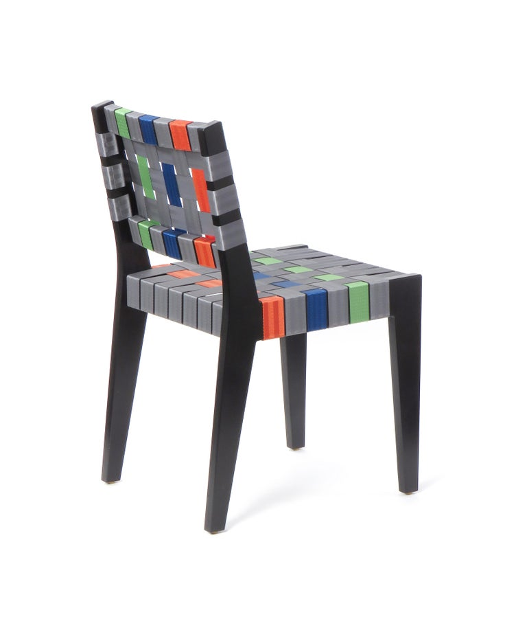 Modern Natural Finish Maple Side Chair with Black Woven Seat & Back by Peter Danko For Sale