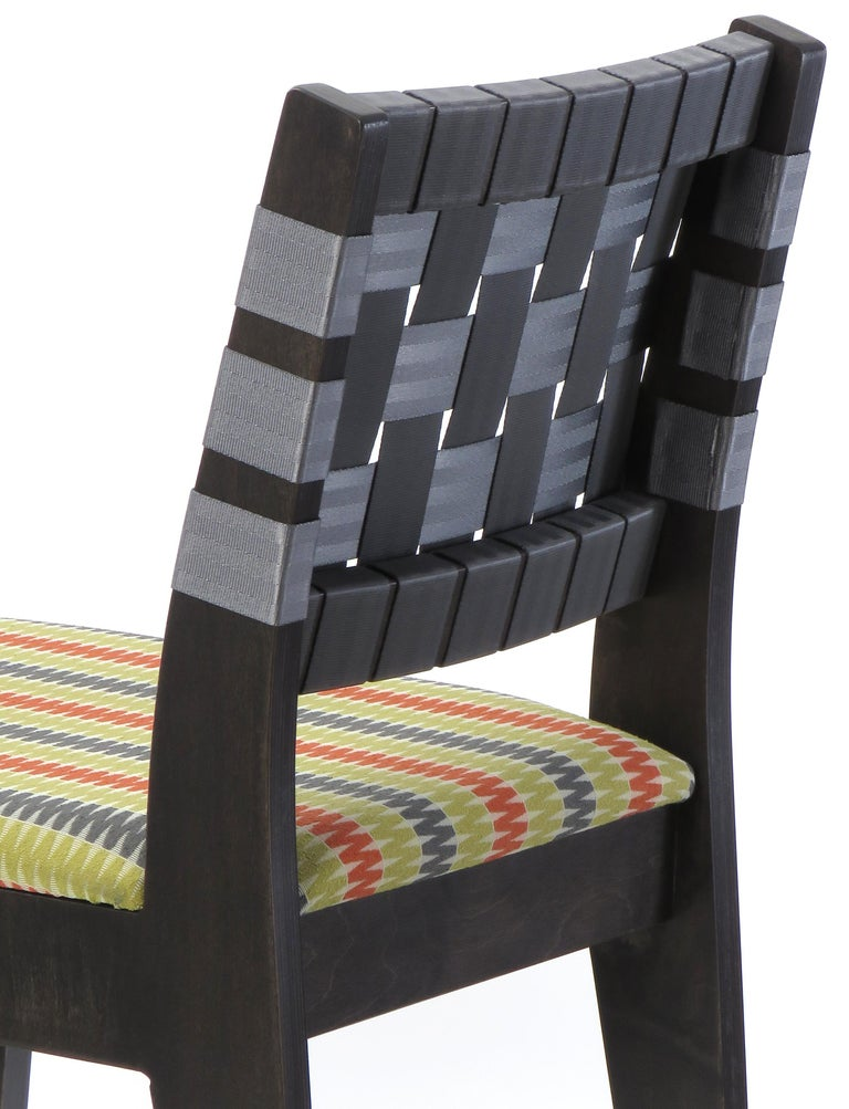 American Natural Finish Maple Side Chair with Black Woven Seat & Back by Peter Danko For Sale