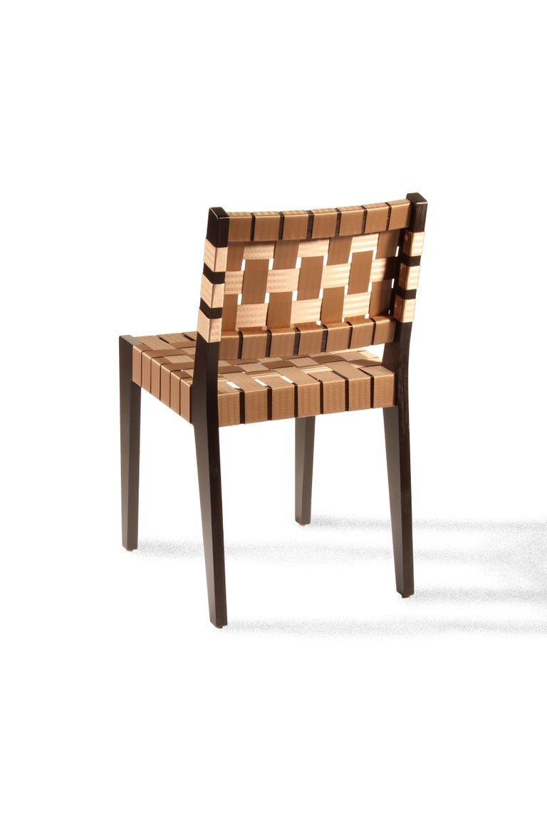 Natural Finish Maple Side Chair with Black Woven Seat & Back by Peter Danko In New Condition For Sale In York, PA
