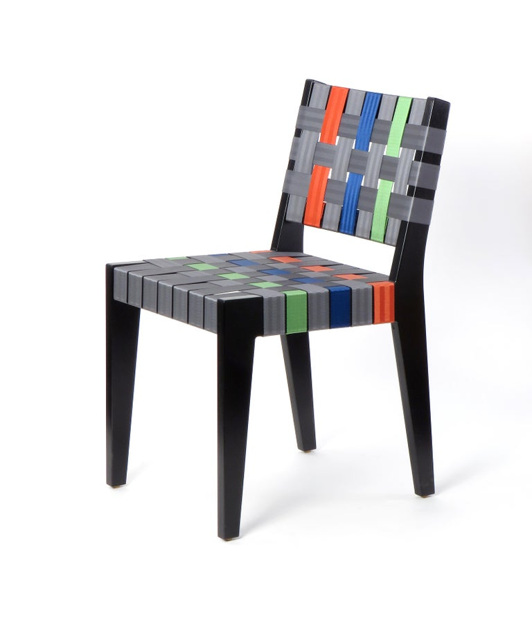 Contemporary Natural Finish Maple Side Chair with Black Woven Seat & Back by Peter Danko For Sale