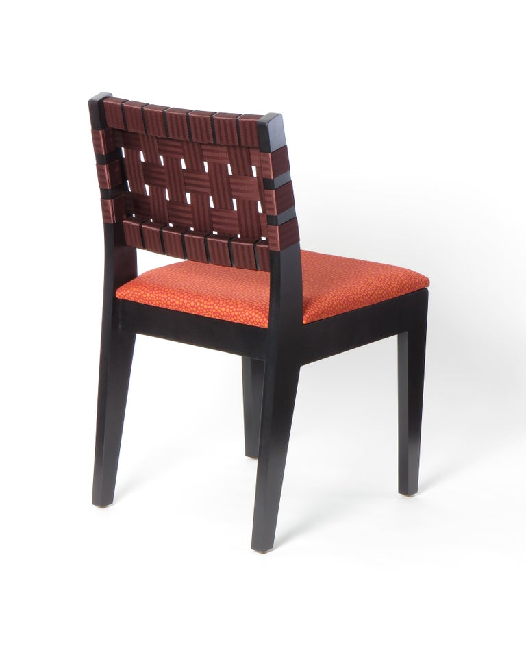 Birch Natural Finish Maple Side Chair with Black Woven Seat & Back by Peter Danko For Sale
