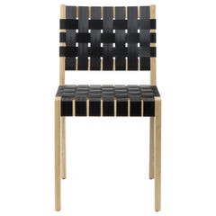 Natural Finish Maple Side Chair with Black Woven Seat & Back by Peter Danko