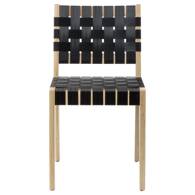 Natural Finish Maple Side Chair with Black Woven Seat & Back by Peter Danko For Sale