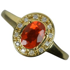 Natural Fire Opal and Diamond 18ct Gold Cluster Ring