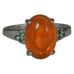 Natural Fire Opal Cabochon Alexandrite 9 Carat White Gold Ring