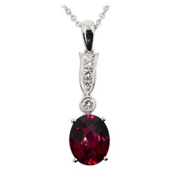 Natural Garnet and Diamond Pendant Drop Necklace, 18 Karat White Gold
