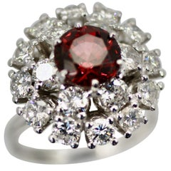 Natural Garnet Rhodolite Diamond Surround 18 Karat