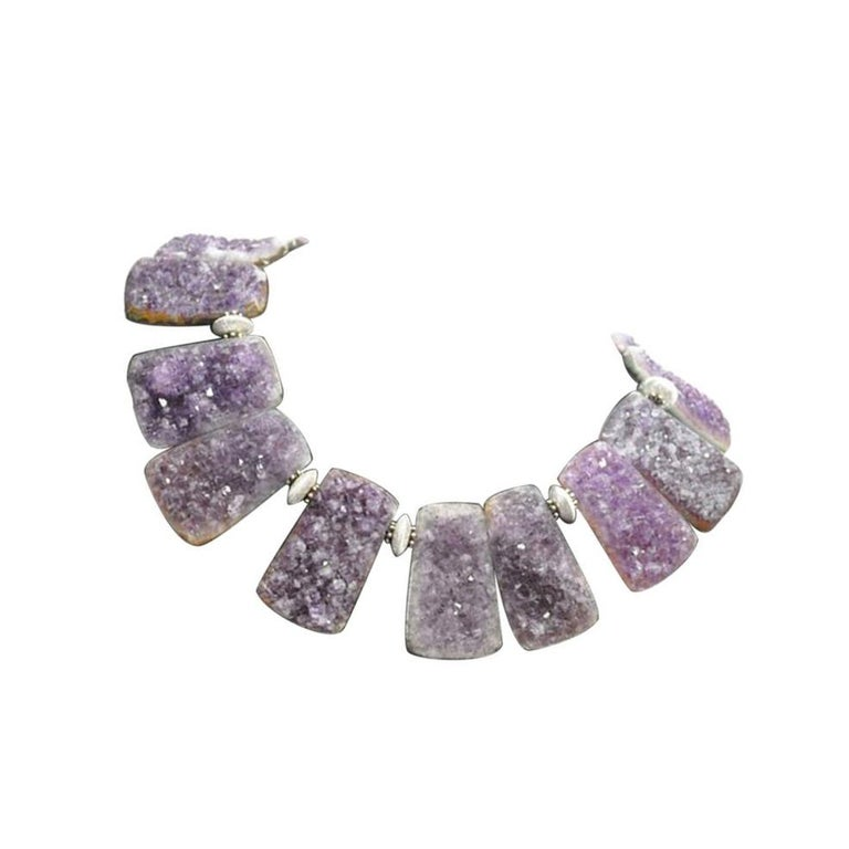 Natural Gem Amethyst Quartz Sterling Silver Statement Necklace In New Condition For Sale In Montreal, QC