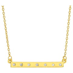 Natural Genuine Diamond Bar Silver Pendant Necklace Yellow Gold-Plated