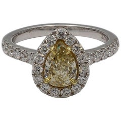 Natural GIA Certified .98 Carat Brownish Yellow Pear Shape Diamond Ring 18k Gold