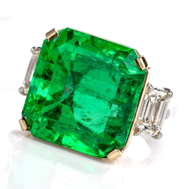 Emerald Cut Natural GIA Emerald 3-Stone Platinum 18 Karat Engagement Cocktail Ring For Sale