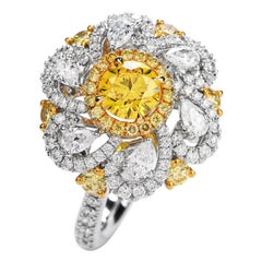 Natural GIA Fancy Vivid Yellow Diamond 18k Gold Flower Cocktail Ring