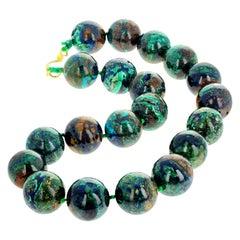 Natural Glowing Azurite/Malachite Natural Combination Gemstone Necklace