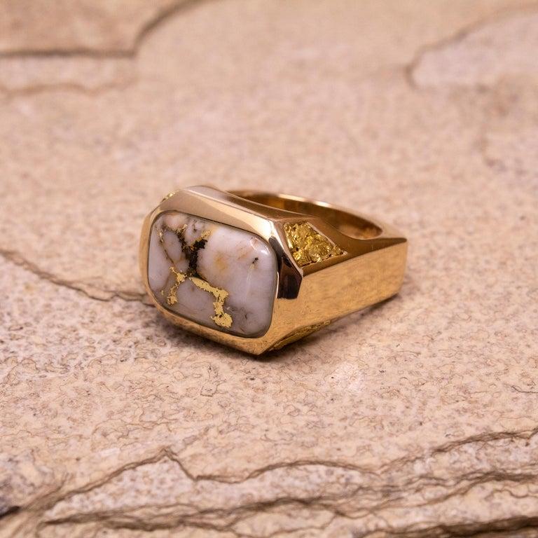 Cabochon Natural Gold Bearing Quartz and Gold Nugget 14 Karat Gold Men's Ring