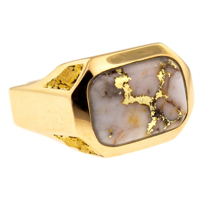 Natural Gold Bearing Quartz and Gold Nugget 14 Karat Gold Men's Ring In New Condition In Logan, UT