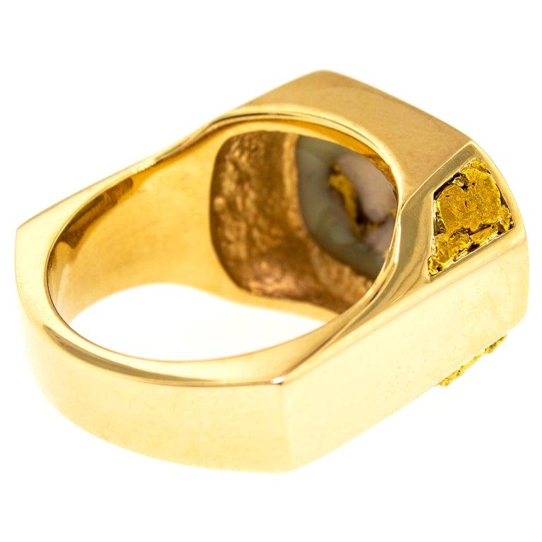Men's Natural Gold Bearing Quartz and Gold Nugget 14 Karat Gold Men's Ring