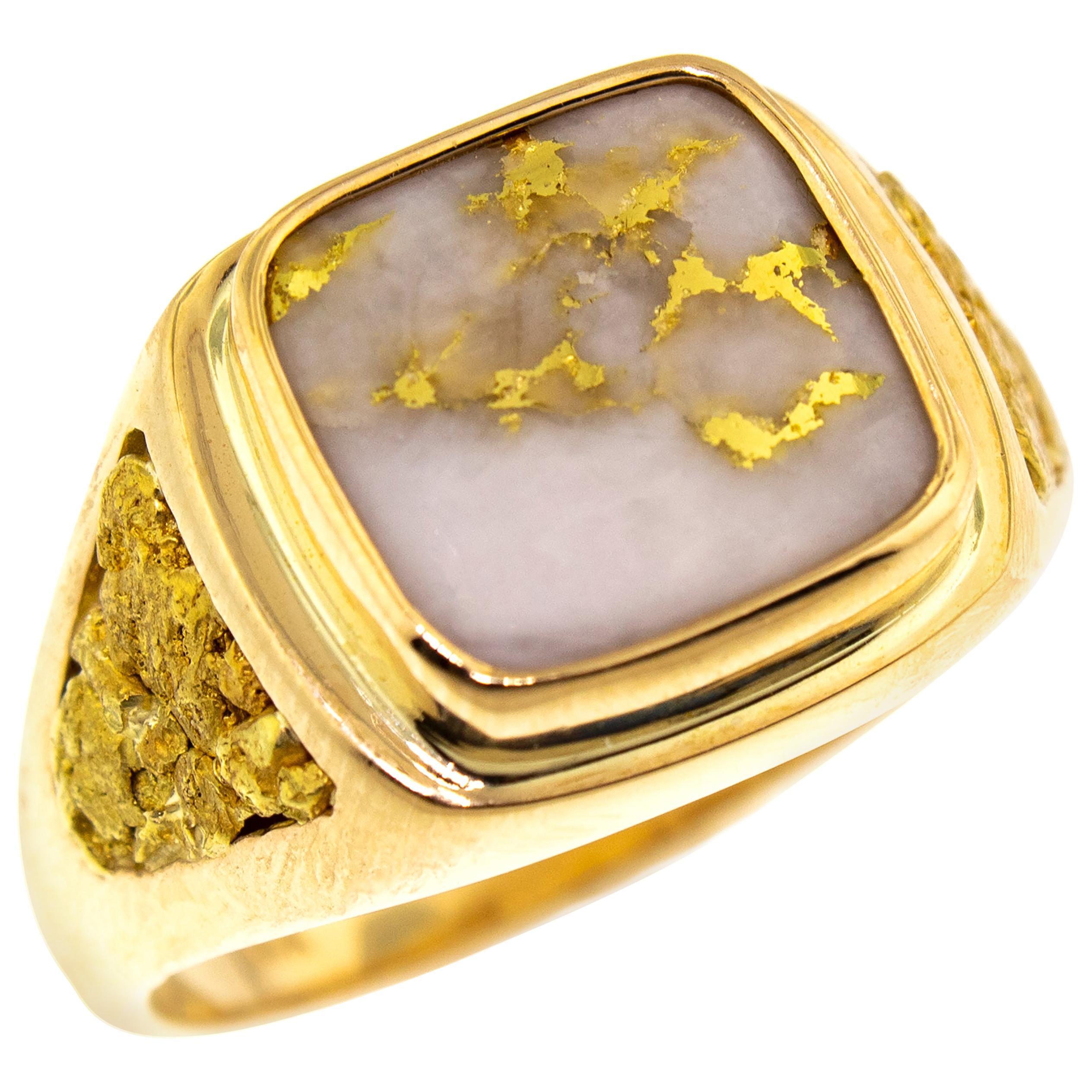 Natural Gold Bearing Quartz and Gold Nugget 14 Karat Gold Men's Ring
