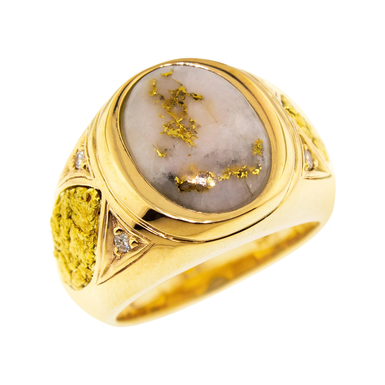Natural Gold Bearing Quartz and Gold Nugget 14kt Gold Men's Ring
