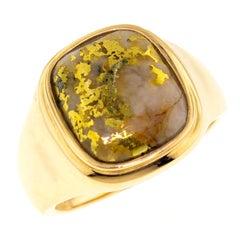 Natural Gold in Quartz 14 Karat Gold Signet Style Ring
