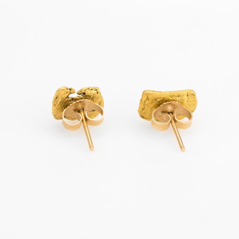 bd86717b9 Elegant pair of vintage natural gold nugget earrings (24k gold nuggets and  14k gold backings