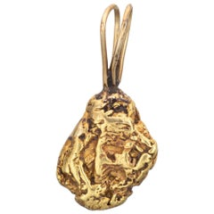Natural Gold Nugget Pendant 22k to 24k Organic Vintage Charm Jewelry 14k Jewelry
