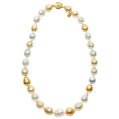 Natural Golden and South Sea Baroque Pearls with 18kt Gold and Diamond Rondelles