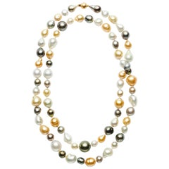 Natural Golden, Multicolored Tahitian, White Round and Baroque South Sea Pearls