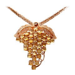 Natural Golden Rutile Quartz Gemstone and Diamond Brooch / Pendant Necklace