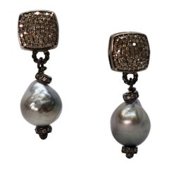 Natural Gray Akoya Baroque Pearl Diamond Drop Earrings