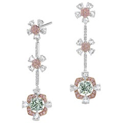 Natural Green and Pink Diamond Dangle Earrings in White Gold