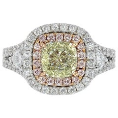 Takat 1.66 Carat GIA Certified Natural Green Diamond Ring In 18K W/P Gold
